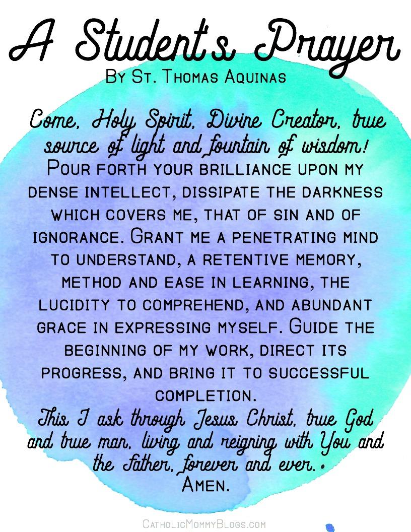 Free printable- a student's prayer by St. Thomas Aquinas, Catholic, homeschool, motherhood, catholic family